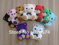 5pcs/lot Wholesale Free Shipping Teddy Bear Skin Soft Rubber Mobile Phone Back Case For iPhone 4 /4S Full Housing Cover(China (Mainland))