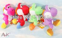 "Free shipping 2 PCS High Quality Soft Plush Super Mario Bros Yoshi Plush Anime 7"" Cos Figure Runing Yoshi OPP Retail"