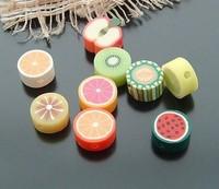10mm , flat round , fimo beads fruits designs, mix colors, random colors ,200pcs per bag