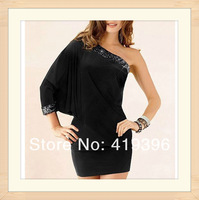 CL17618 Sexy Batwing One Sleeve Sequins Details Sexy Lady Black Party Short Dress Cocktail Dress Evening Fast Delivery