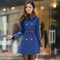 Women's winter coats double breasted fashion fur collar high waist outerwear 4 sizes 2 colors free shipping