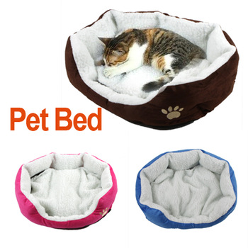 Soft Pet Dog Nest Puppy Cat Bed Fleece Warm House Kennel Plush Mat Coffee, Rose, Blue, Orange color, Freeshipping Dropshipping