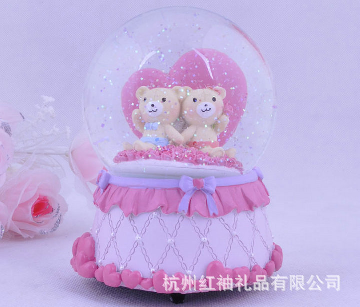M031a christmas gift birthday gift home decoration music box angel bear floats water polo crystal ball(China (Mainland))