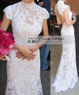 На заказ 2014 новый кружевное платье для женщин сексуальное с открытой спиной с кружева ну вечеринку суд поезд свадебные платья 2014