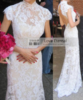 Custom made 2014 New Lace Dress For Women Sexy Open Back Long Lace Party Court Train Wedding Dresses 2014