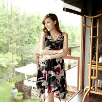 Small damselfly slim chiffon irregular expansion bottom sexy one-piece dress fashion medium-long print skirt