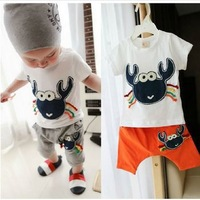 2013 baby cute cartoon crab children suit summer suit free shipping