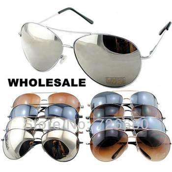 Free Shipping! Wholesale (9 pieces/lot) Mix Colors 2013 Fashion New Men Women Aviator Pilot Style UV400 Sunglasses 120-0012