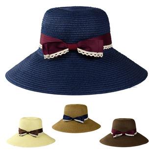 Free shipping 2014 Korean version of the new fashion women lace bow sun hat summer straw sun hat