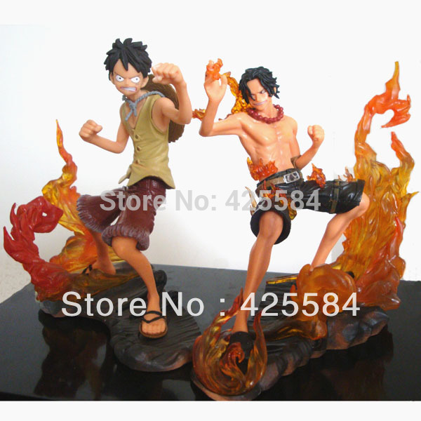 POP One Piece DX Brotherhood figures Luffy+Ace Figures set of 2pc,PVC 11CM/4.5 Inches Heigh,For Christmas Gift Free shipping(China (Mainland))