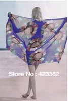 Wholesale - free shipping EMS Colorful Sheer Chiffon Cover up Wrap Shawl Dress Beach Swimwear Bikini Sarong