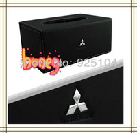 High-quality Car Tissue Box  British Style Real Leather Napkin Holder with metal logo case