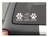 PEACE LOVE DOGS Decal Pet Car Window Bumper Vinyl Sticker