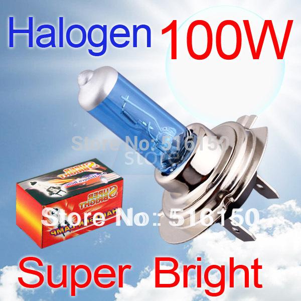 2pcs H7 Super Bright White Fog Halogen Bulb 100W Car Head Lamp Light parking car light source V10 12V(China (Mainland))