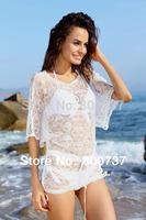 Hot sale White Bikini wrap dress Beach cover up Sun dress women 2014 Swim dress excluding bikinis Cover ups beach wear S-XXL