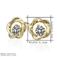 18k Gold Plated Earring High Quality Rhinestone Crystal Earrings Wholesale Fashion Jewelry Free Shipping lkn18krgpe286