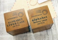 2013 new.28 pcs.set  schoolbook stamp  stamps stamp  stamps set.wooden box.    work.uppercase& lowercas..hot sale