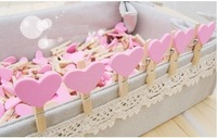 2013 new.pink Heart shape Wooden Clip.Bag Clip.Paper Clip.School&Office.     Style.hot sale