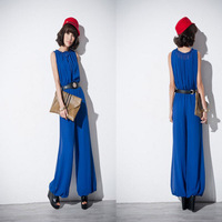 Free shipping chiffon jumpsuit women 2013 wide leg summer fashion jumpsuit sleeveless tunic elegant high waist blue black color