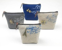 2013 new.Linen dream paris small Portable Wallet.key holder.fabric coin bag.small Purses.Japan Style. .hot sale
