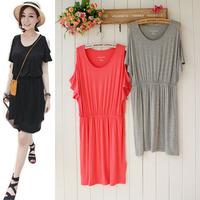 Modal cotton fashion van candy color strapless slim waist dress short-sleeve