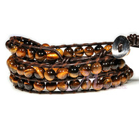 "Min.order $12 Tiger eye stone bracelet 21-23"" creat bracelet how to leather 3 wrap bracelet vintage jewelry factory price QCL86"