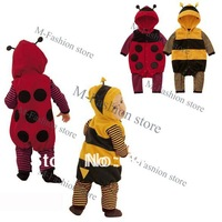 New 3-24m Fleece LADYBIRD BEE Cartoon Baby Cosplay Costume Dress Romper Two Colors 9485