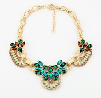 2013 fashion vintage retro color crystal brand designer statement choker necklace oversized wholesale free shipping