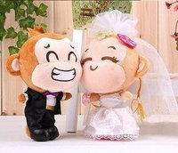 Free shipping 27cm Wedding dress laugh monkey wedding doll plush and stuffed animals monkey toy gift doll