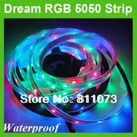 Wholesale DC 12V 5M 5050 Dream Color RGB  LED Flexible Strip Light 30LEDS/M Waterproof