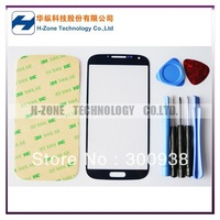 Freeshipping Blue Color Galaxy S4 GT-i9500 Front Outer Glass Lens Screen For Replacement +Tools+Adhesive