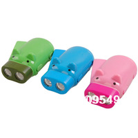 Free shipping wholesale fashion piggy-type manual push rechargeable flashlight, cartoon lights 2pcs/lot