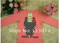 Children's clothing retail 2013 new girls candy color cartoon Hello Kitty T-shirt children's top FREE SHIPPING