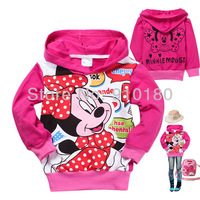 Free shipping 6pcs/lot baby girls cartoon minnie mouse long sleeves hoodies/Hooded/Sweatshirts kids spring autumn outerwear