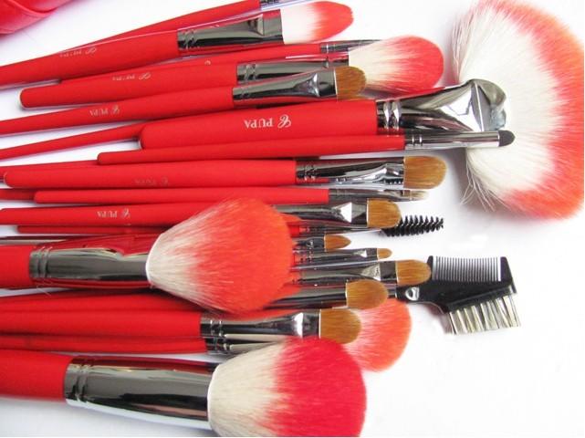 free shipping Pupa 24 sable brush red professional makeup brush set cosmetic tools make-up brush powder 2015(China (Mainland))