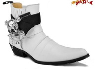 Free shipping! MENS death's-head Metal band Russia style white motorbike boots Genuine leather Pointed Toe combat hunting boots