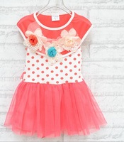 Hot-selling 1pc 2013 summer Children's clothing baby girls clothes kids tutu dress girl dresses with flower