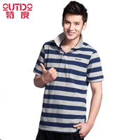 2013 male plus size turn-down collar short-sleeve t-shirt cotton stripe casual