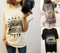2013 women's rivet lips t-shirt roll sleeve loose short-sleeve plus size basic shirt