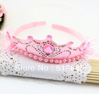 {Min.Order $15} 10pcs/Lot  Kids/Girl/Princess/Baby Rhinestones Iron Pearl Stone Ribbon Crown HeadBand/Hair Accessories