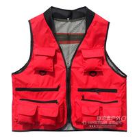 Hot-selling Men fishing vest red multi-pocket mesh fishing services photography vest