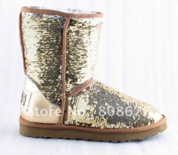 Classic women winter genuine leather brand boots, Glitter nice women snow boots