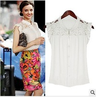 S-XL  NEW free shipping Manufacturers supply Women's Summer slim sleeveless top Chiffon shirts blouse#S5590