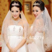 2015 High Quality Hot SprayedGold Laciness Bridal Veil Free Shipping