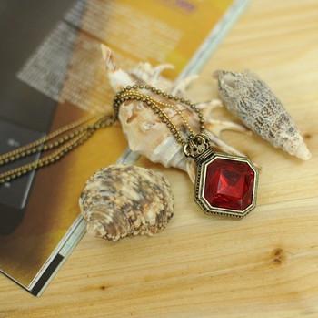 Carved gem square vintage pendant female long design necklace female necklace fashion accessories