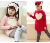 A1822 Kids Girls Heart Long Sleeve Top Shirt Headband Leggings 3 Pcs Sets S2 7Y