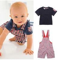 A1640 Boys Kids Baby Clothes Set Overalls 2pcs Outfit Top Bib Pants S0 3Y