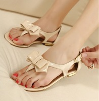 Preppystyle princess shoes flat sandals female bow small fresh flat heel sweet candy color summer sandals