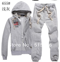 The fashion Men POLO sweatshirt hoodies and sweaters 100% cotton autumn and winter jacket and pants set size M-XXL