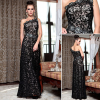 Free shipping DorisQueen 2013 new arrival black Lace one shoulder gorgeous evening dress D30856